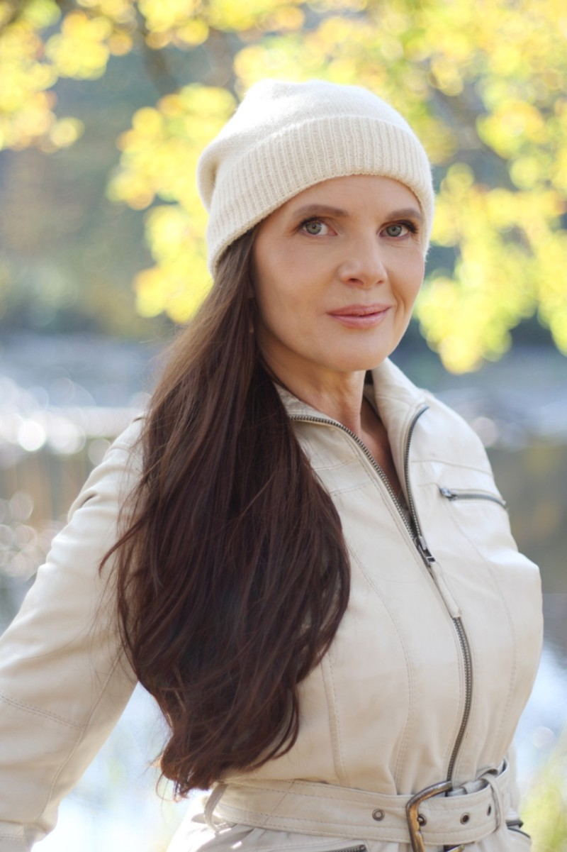Pure Touch Beanie on Model White